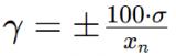 gamma = pm frac{100 cdot sigma}{x_n}