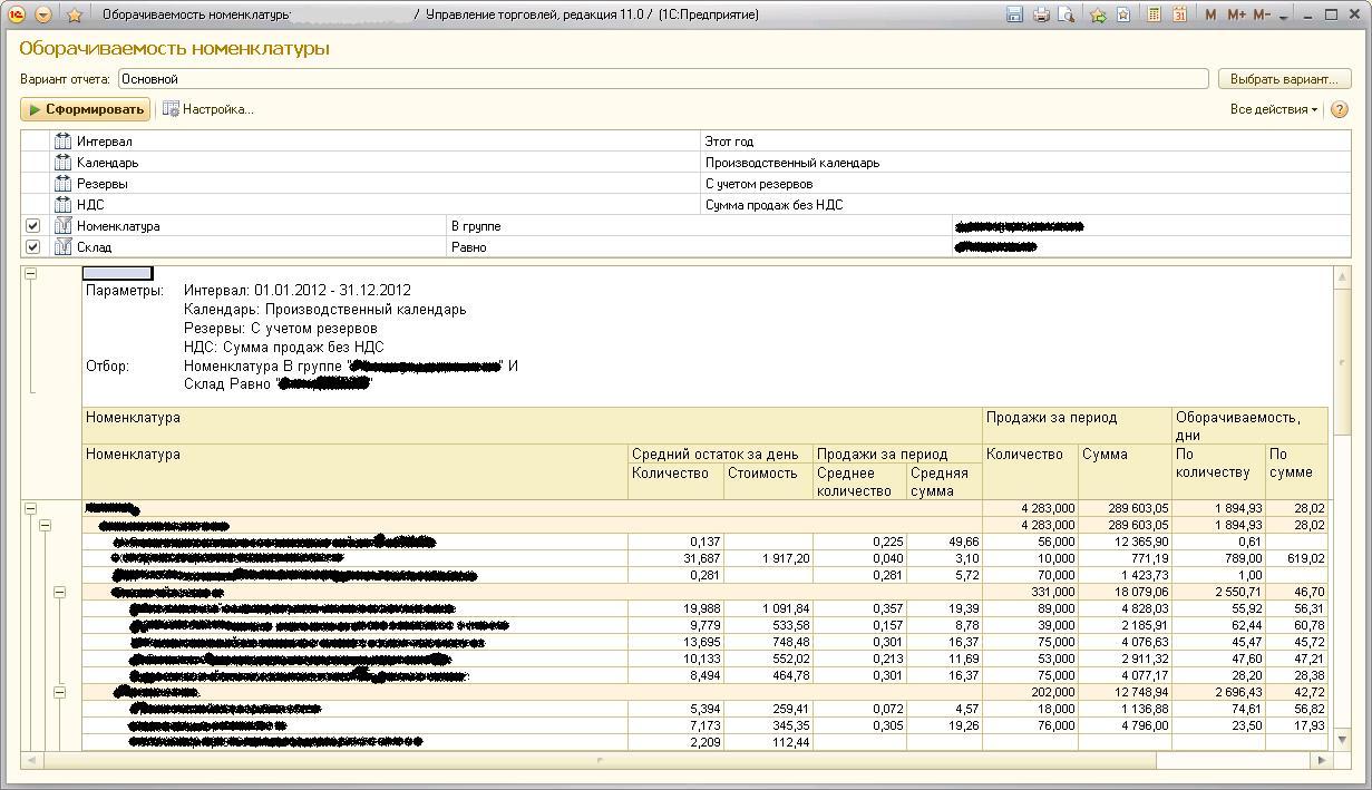 УТ11 Оборачиваемость товаров на складе в количественном и суммовом представлении (СКД, управляемое приложение) .