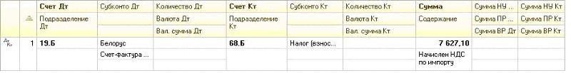 """Результат проведение документа """"Операция (бухгалтерскииM4; и налоговыиM4; учет)"""""""