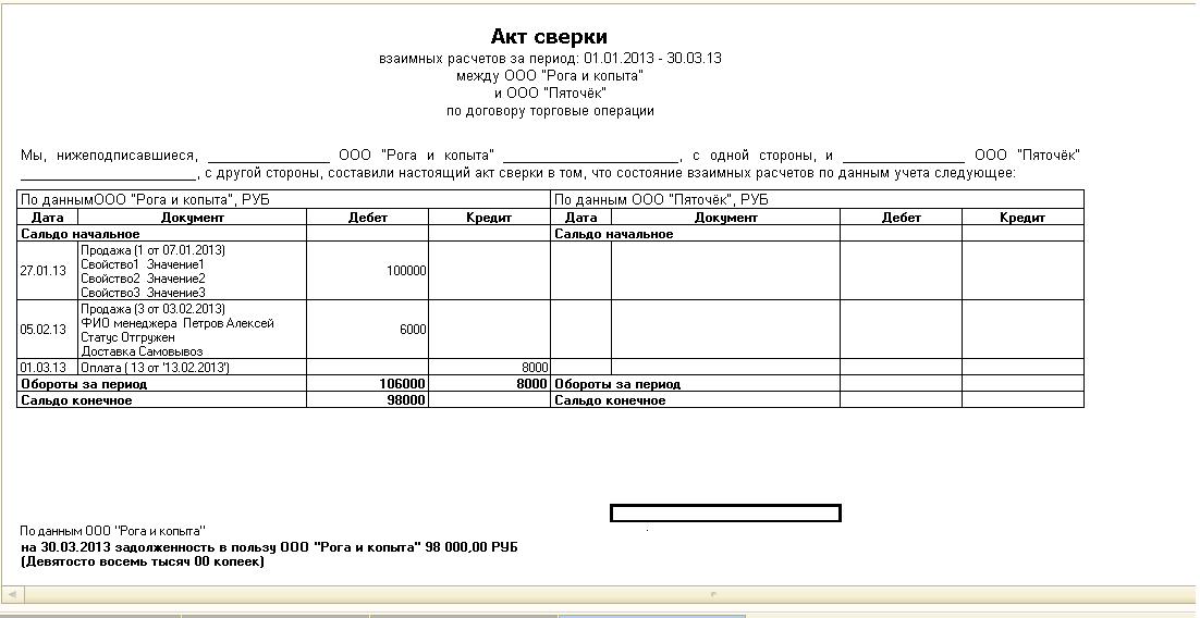 Акт сверки для бухгалтерии 8. 2.