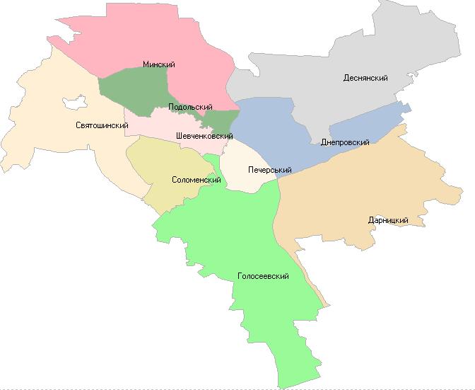Географическая схема Киева