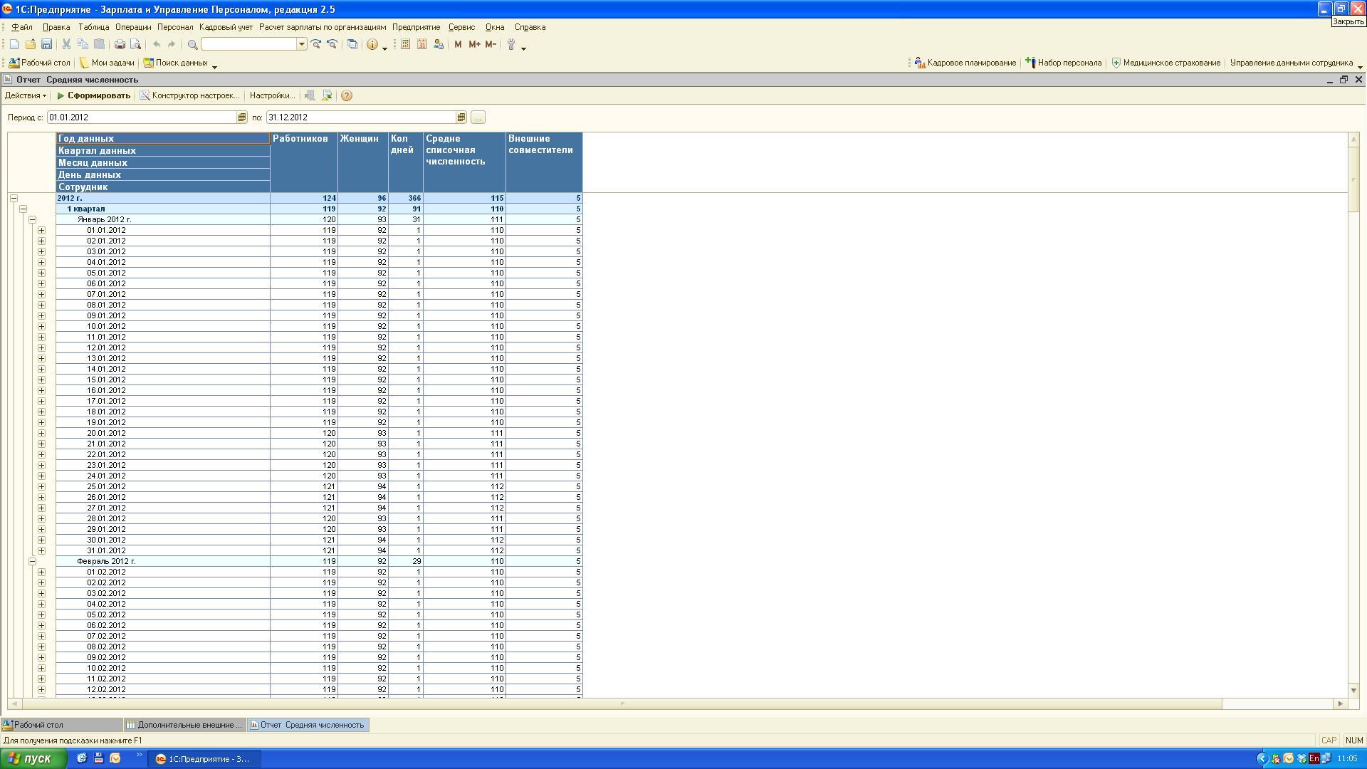 Отчет для статистики ЗУП  Отчеты Статистические По дням месяца