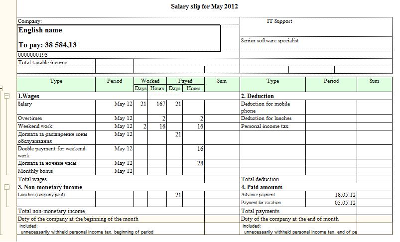расчетные листки по заработной плате образец заполнения