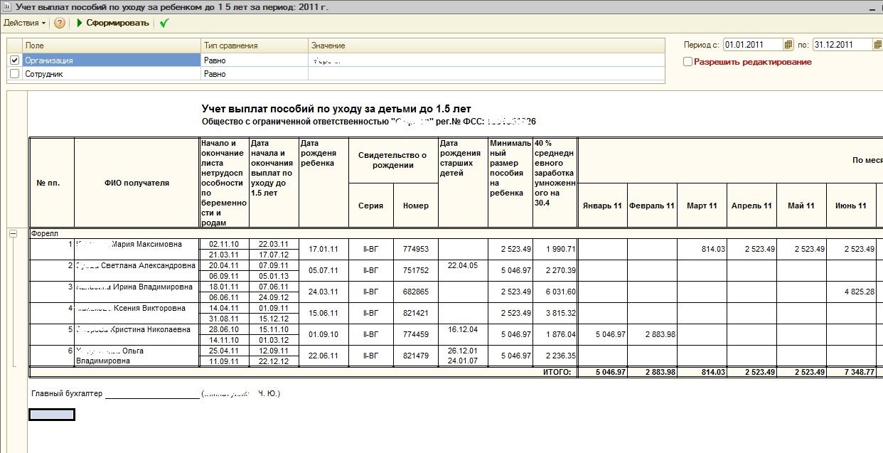 бланк реестра седений о доходах
