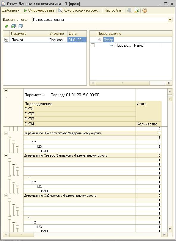 Отчет помощник заполнения формы статистики Т проф  Отчет