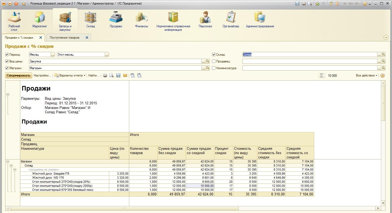 Отчет по продажам для 1с 8 1с 1 6 10 6 обновление скачать