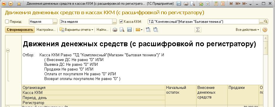Движения ДС в кассах ККМ (с расшифровкой по регистратору)