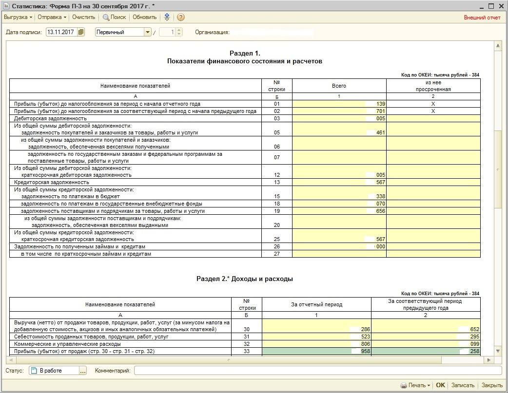 Форма П-3 Сведения о Финансовом Состоянии Организации