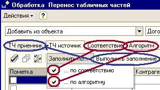 Заполнения ТЧ приемник по ТЧ источника