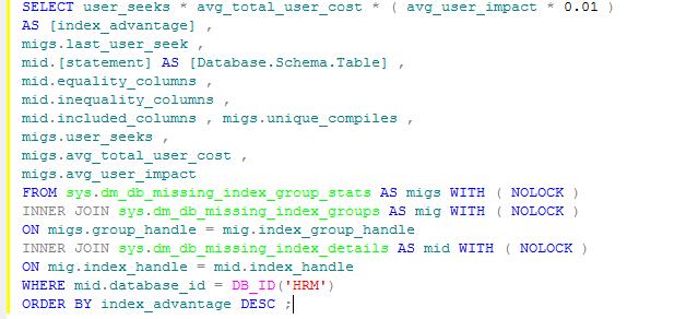 Запрос анализа недостающих индексов SQL