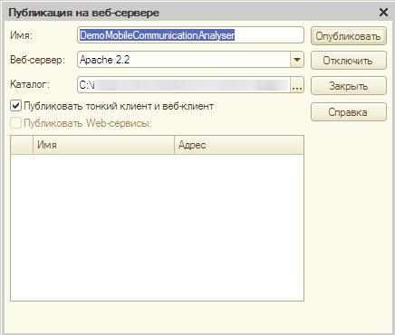 Публикация базы на веб-сервере