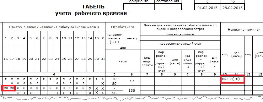 3.2 МО в табеле