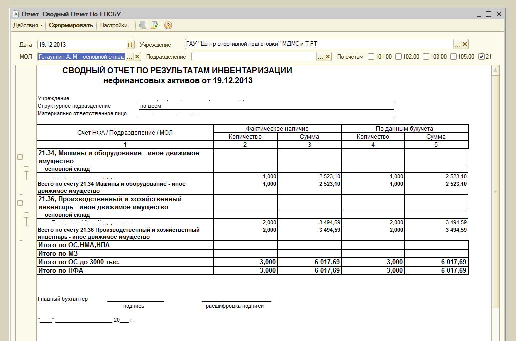 Скачать бланк сводный отчет по результатам инвентаризации