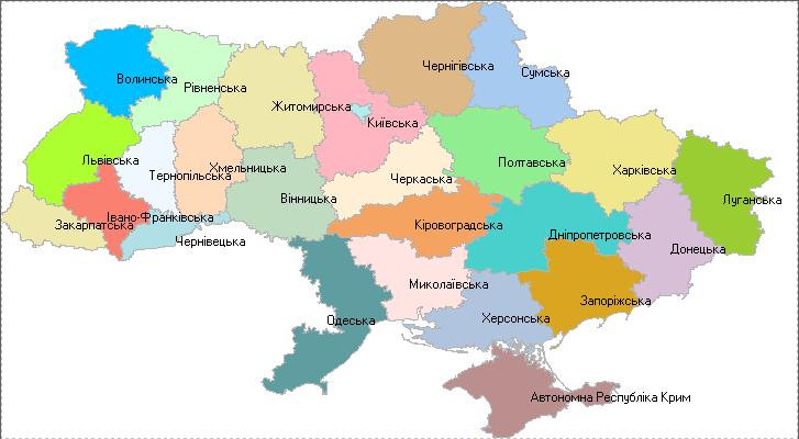 Географическая схема Украины