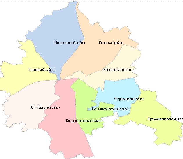 Географическая схема Харькова