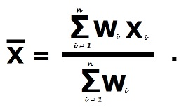 Формула расчета средневзвешенного