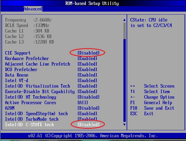 Пример: Выключение C-state в BIOS