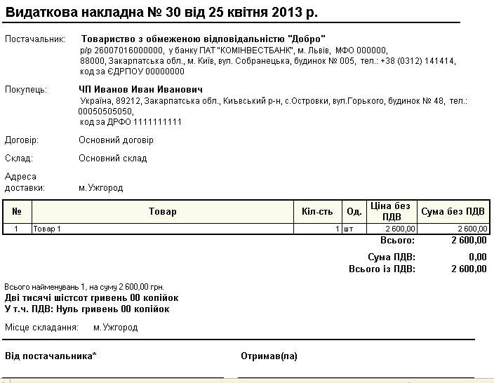 Бланк видатковой накладной украина скачать