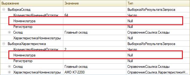 группировка результатов запроса в 1с