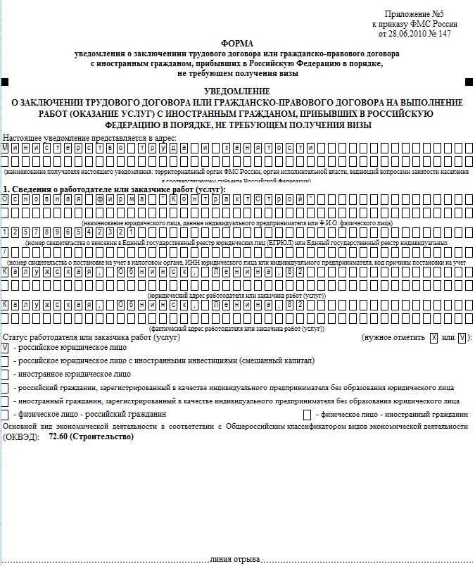 Фмс. Уведомление о заключении/расторжении трудового договора 2015.