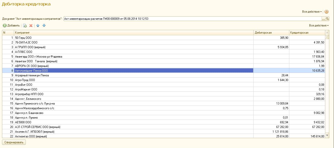 бланк инвентаризации из 1с 8.2