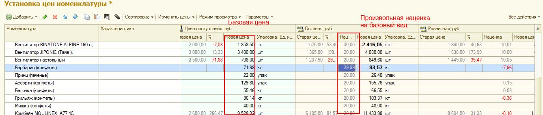 Список номенклатуры и цен