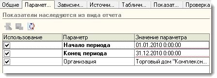 Панель редактирования параметров отчета
