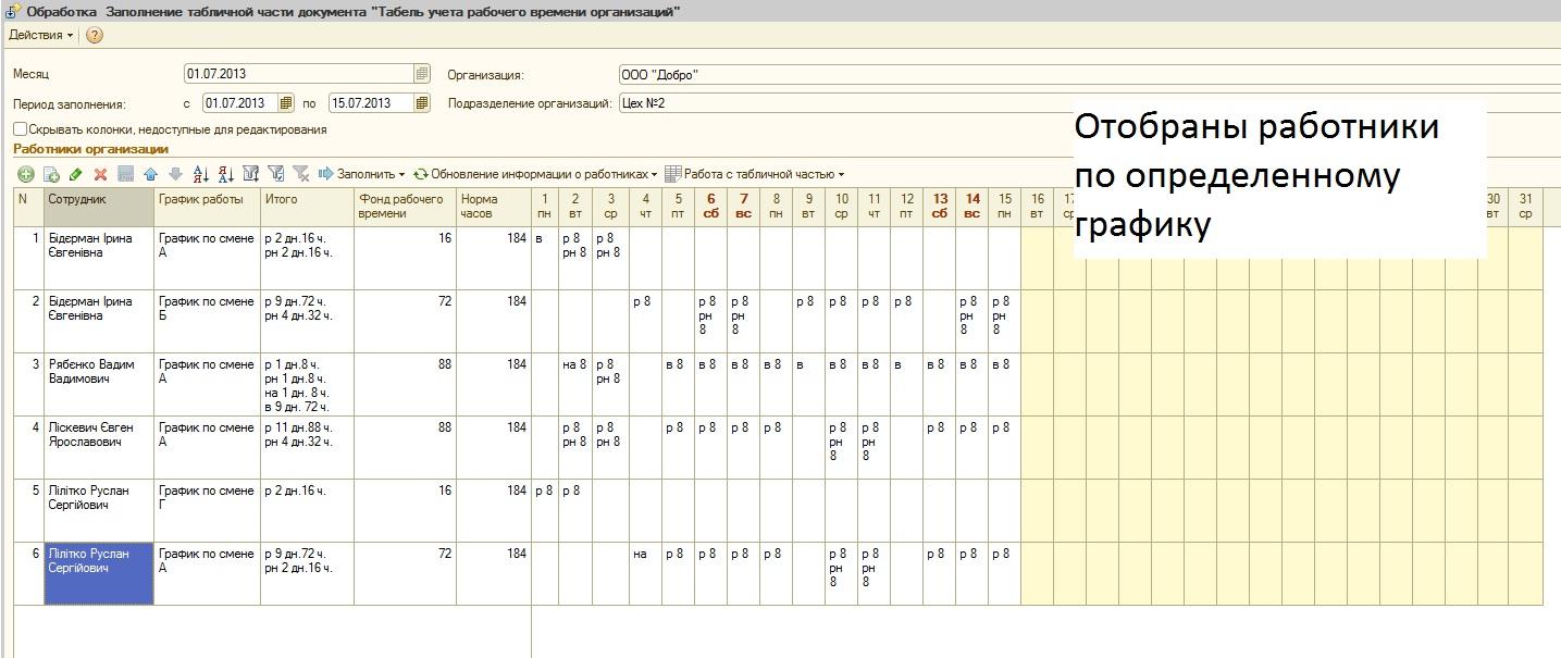 бланк табеля учета рабочего времени 2014 год