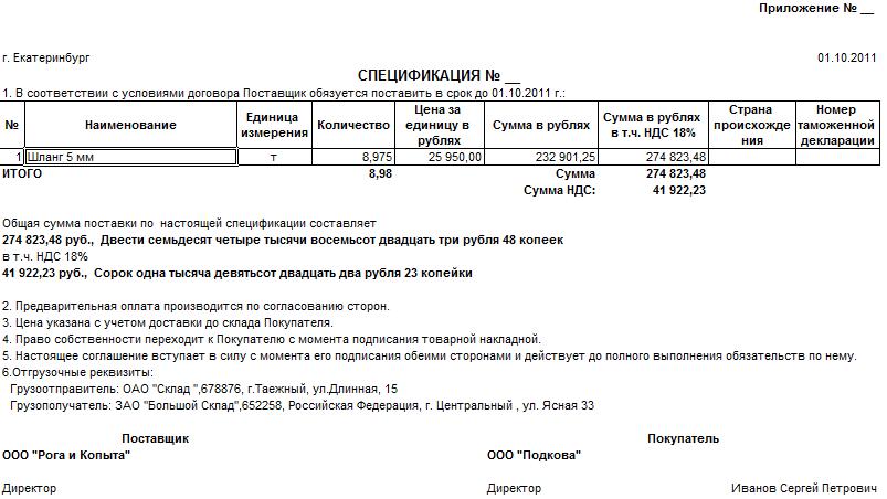 спецификация к договору поставки продуктов образец