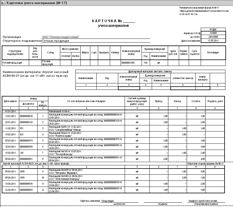 Карточка учета материалов м-17 образец