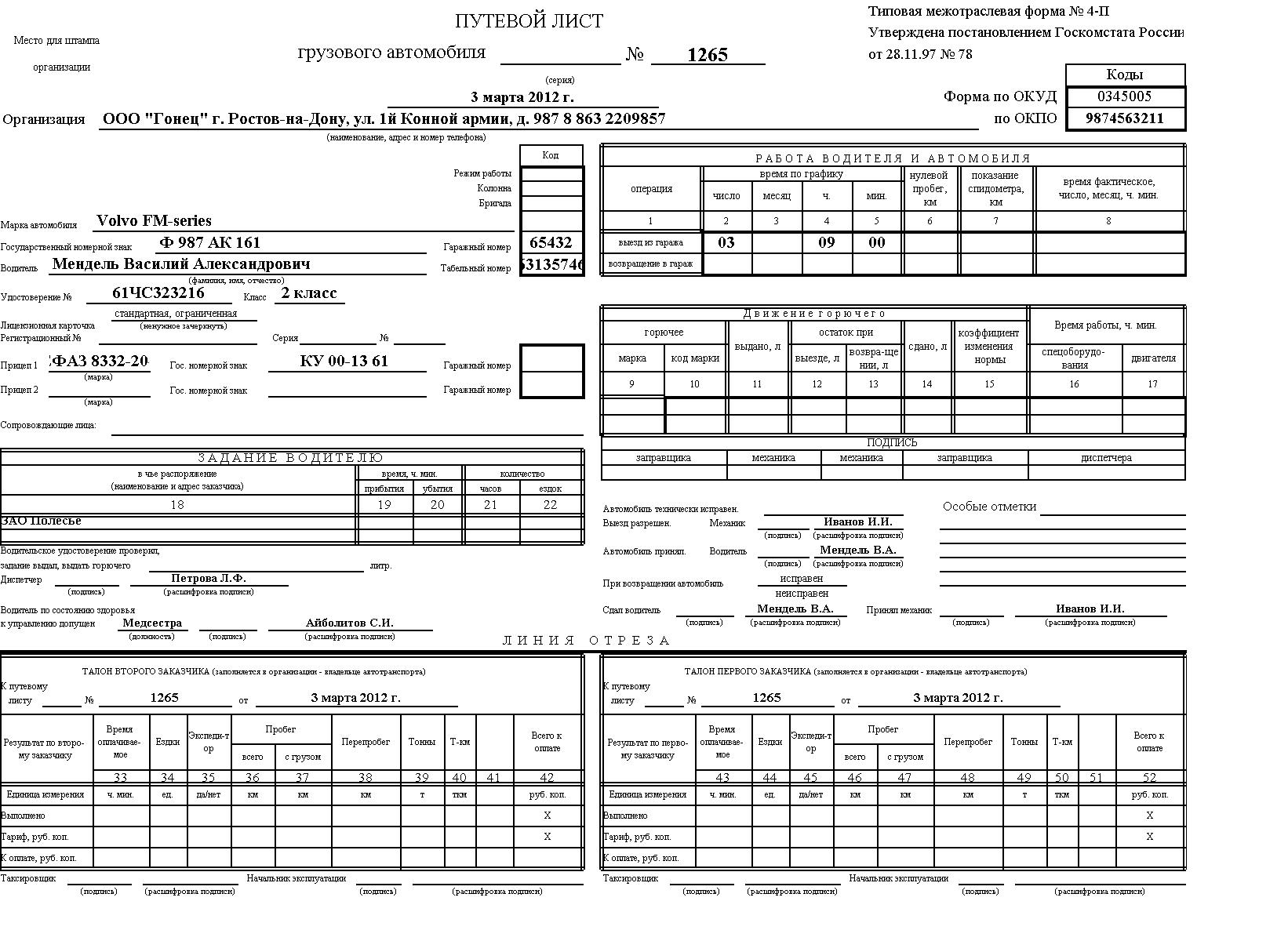 бланк путевые листы форма 19
