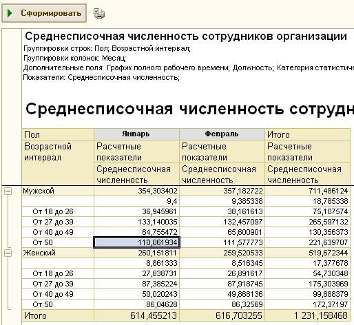 В помощь кадровику Отчет Среднесписочная численность для ЗУП  По категориям